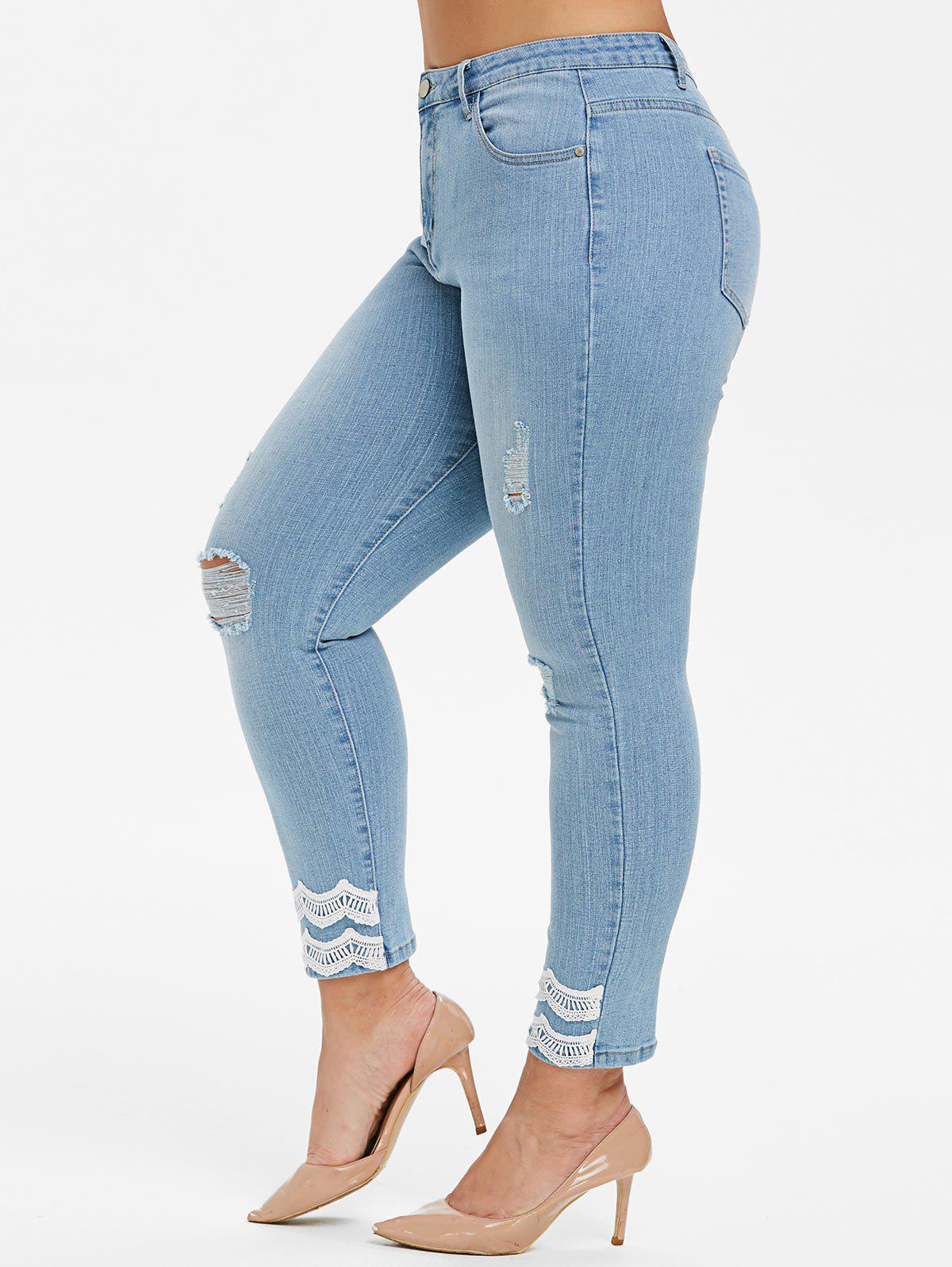 New Plus Size Lace Trim Skinny Ninth Ripped Jeans