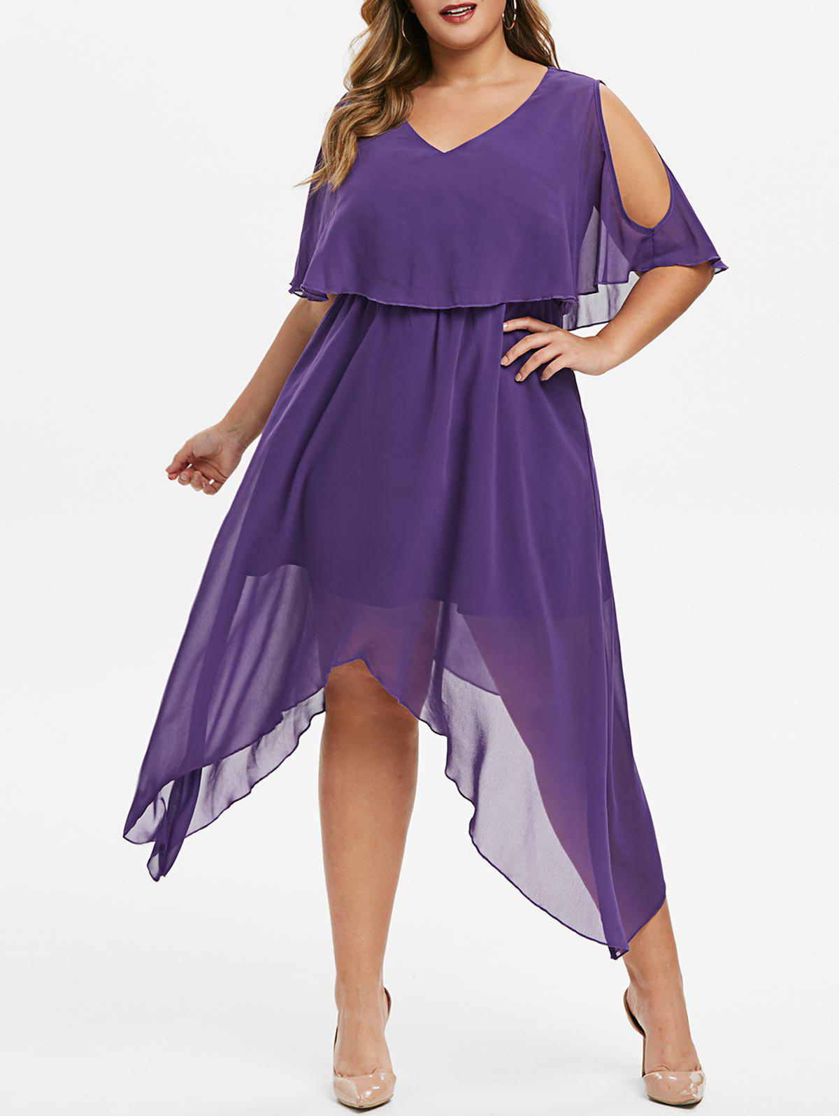 Shops Plus Size Hanky Hem Cold Shoulder Popover Dress
