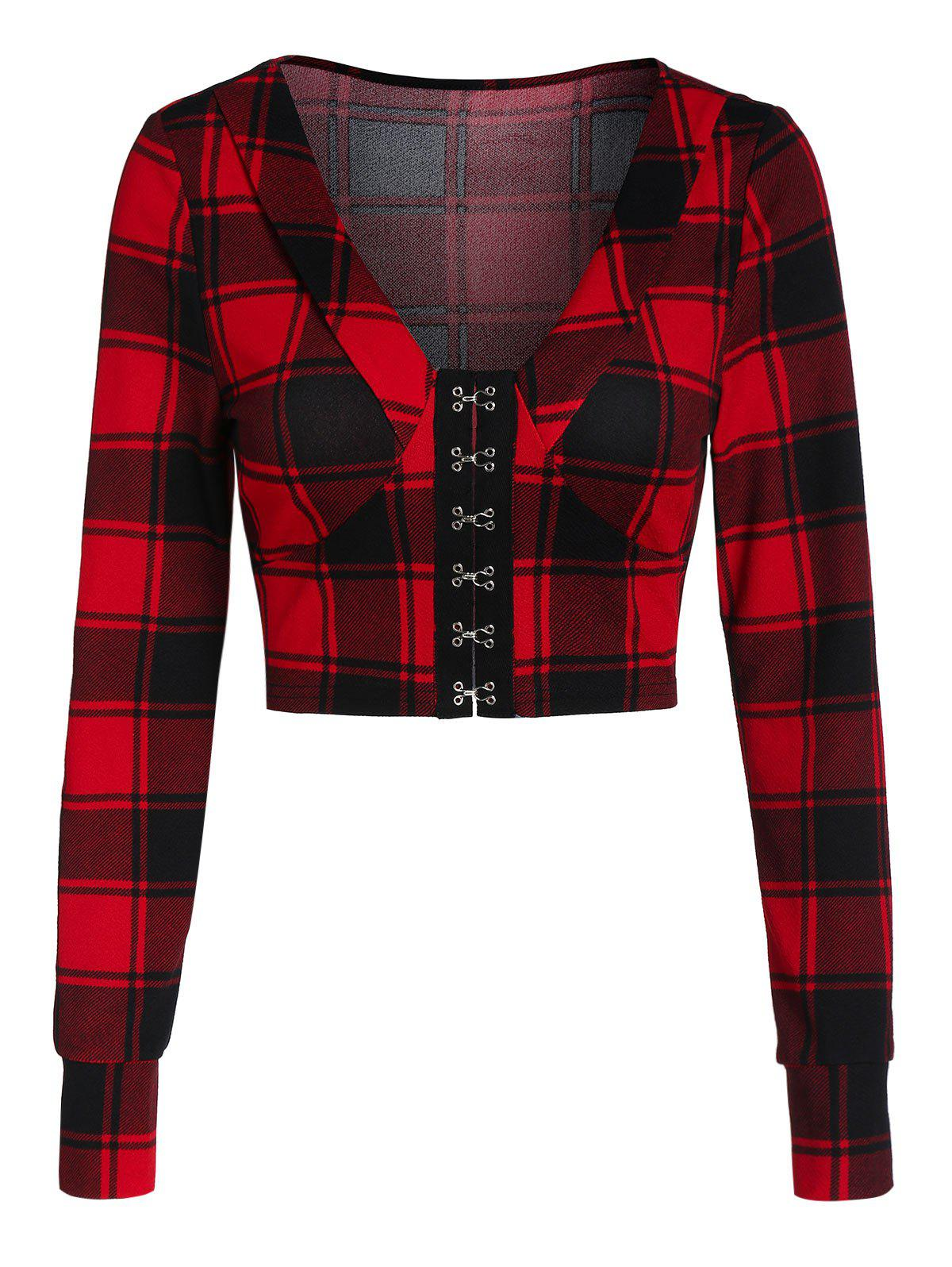 Outfit Plaid Crop Long Sleeve Jacket