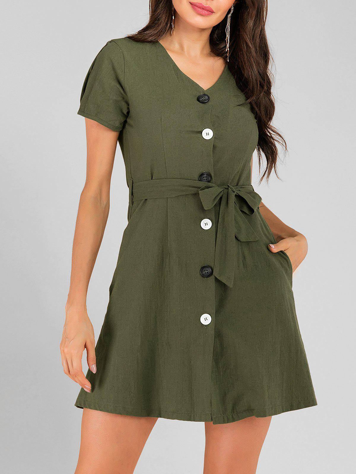 Hot Button Up Pocket Belted Mini Dress