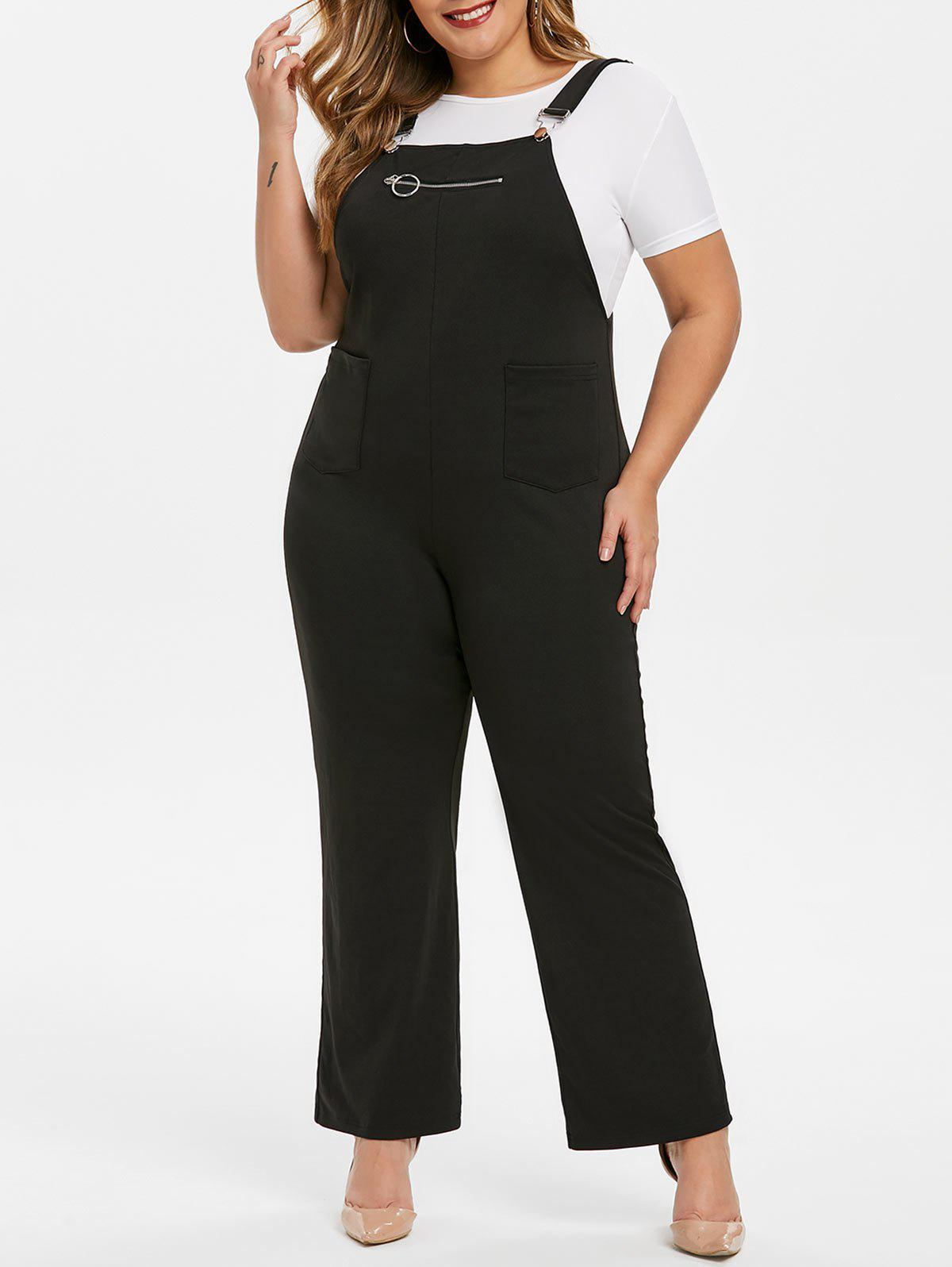 Outfits Plus Size Buckle Pockets Palazzo Jumpsuit