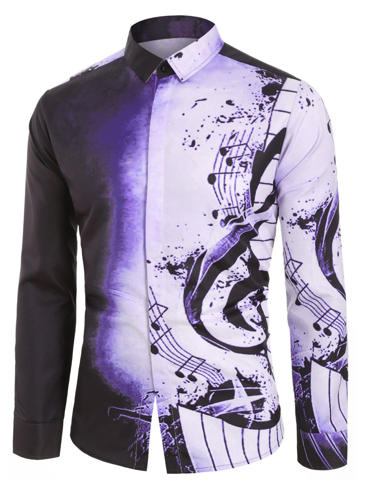 Fancy Musical Note Pattern Casual Long Sleeves Shirt