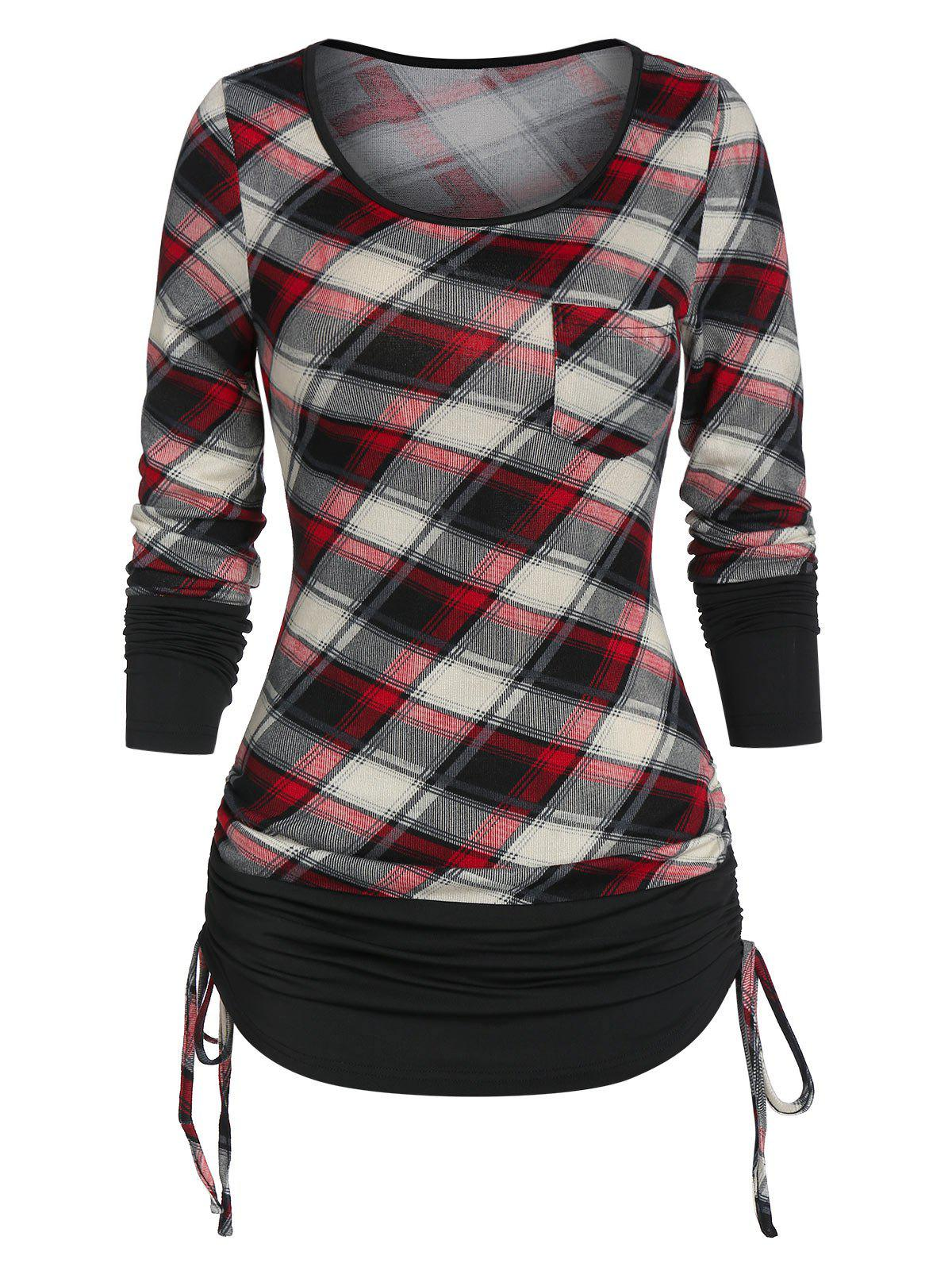 New Ruched Plaid Cinched T Shirt