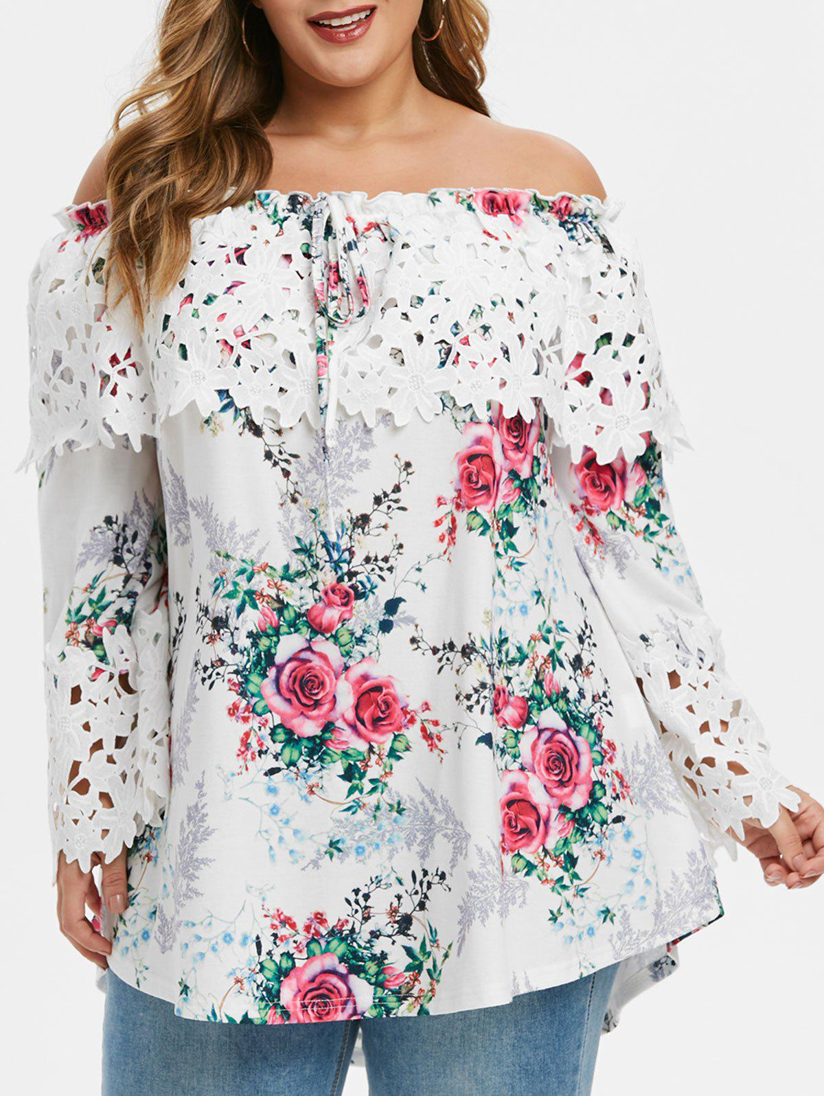 Affordable Plus Size Ditsy Print Tunic Tie Off The Shoulder T Shirt