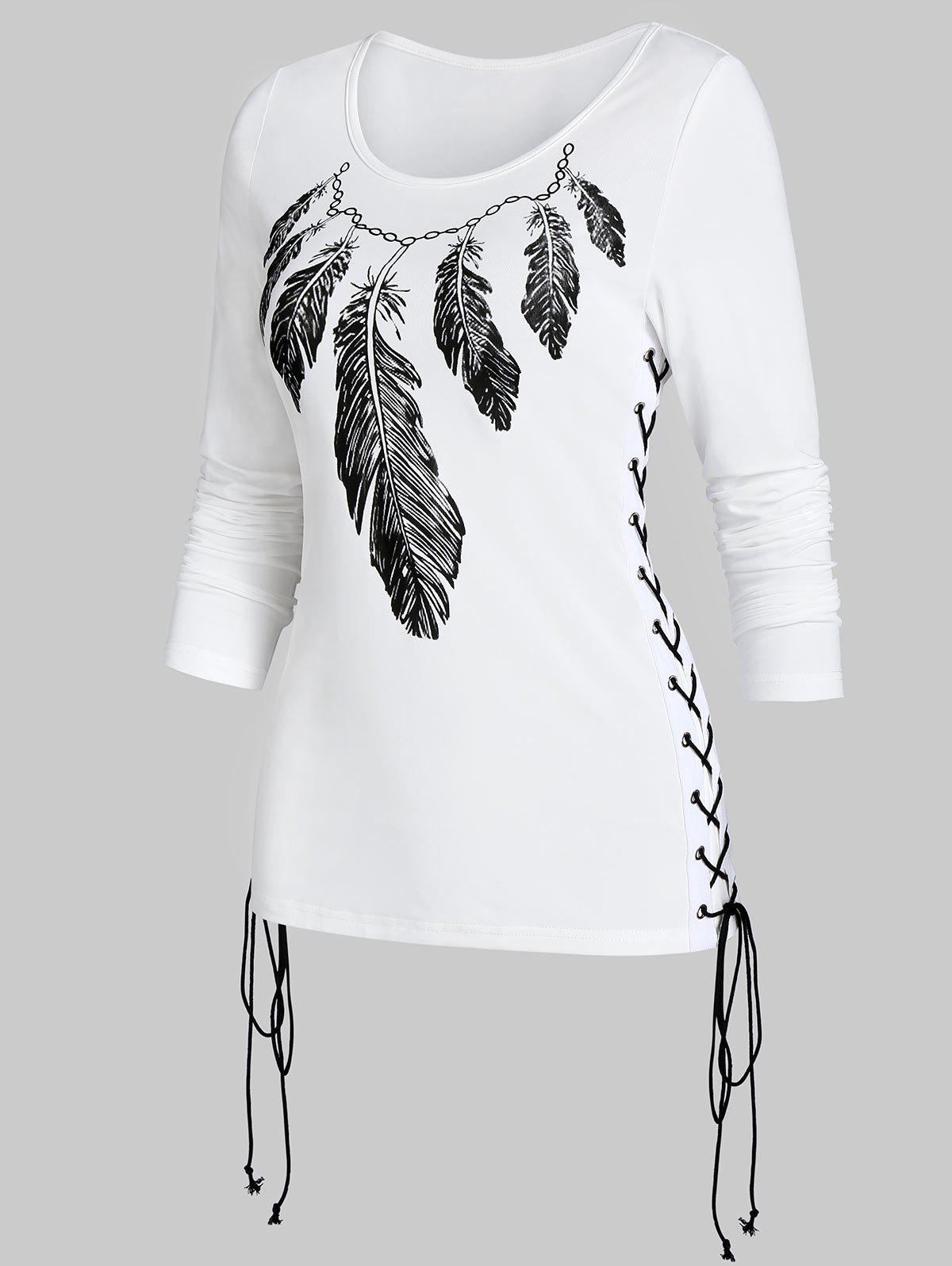 New Feather Print Lace Up Long Sleeve T Shirt