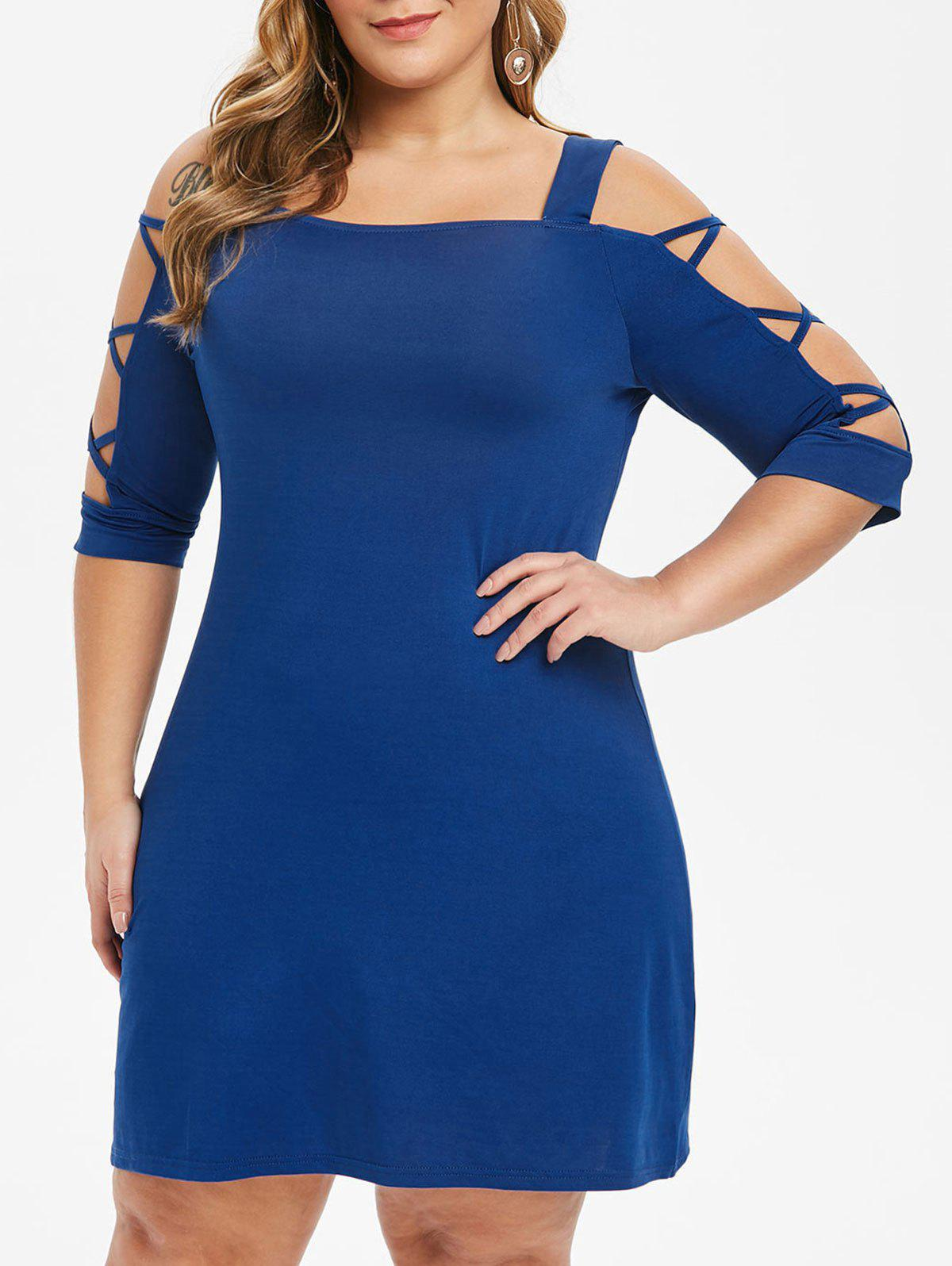 Sale Plus Size Criss Cross Open Shoulder Swing Dress