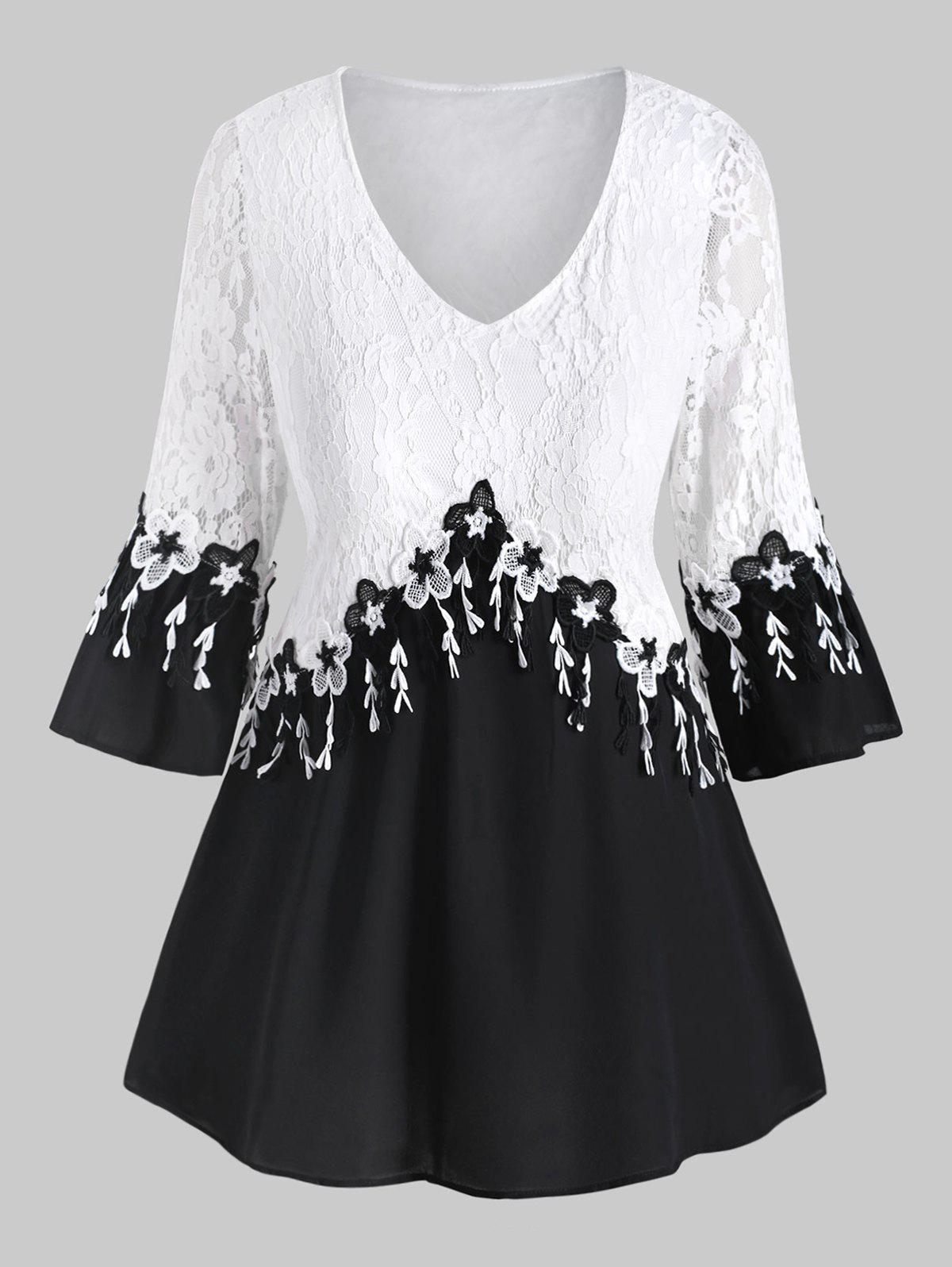 Sale Plus Size V Neck Flower Lace Insert Flare Sleeve Blouse