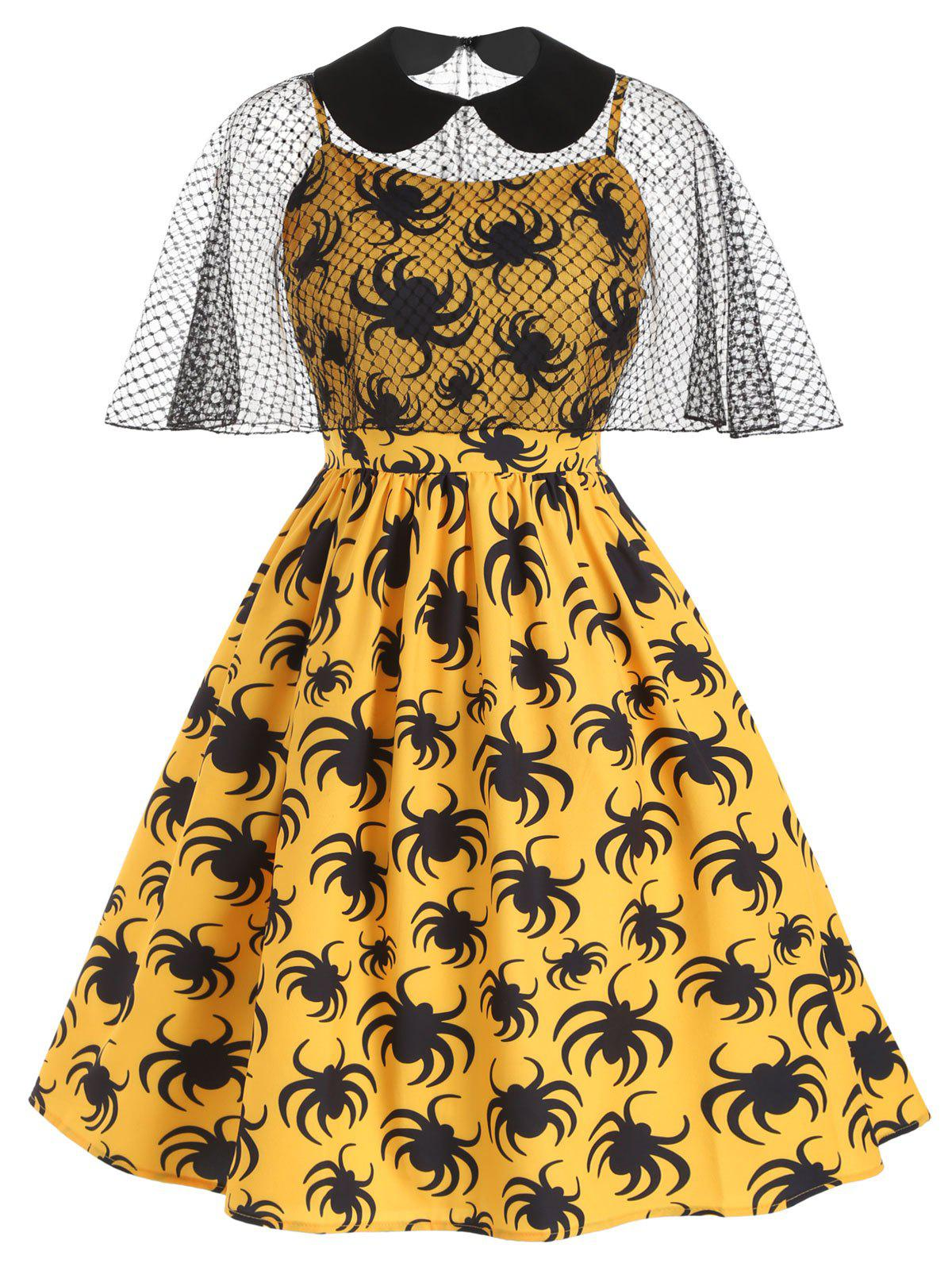 Discount Halloween Spiders Print Plus Size Cami Dress With Cape Top
