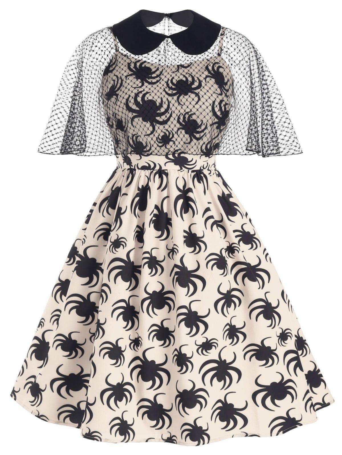 Sale Halloween Spiders Print Plus Size Cami Dress With Cape Top