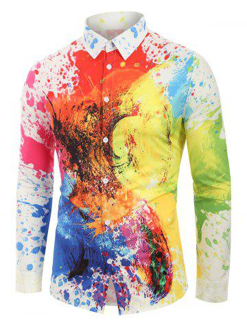 Colorful Painting Splatter Print Button Up Shirt