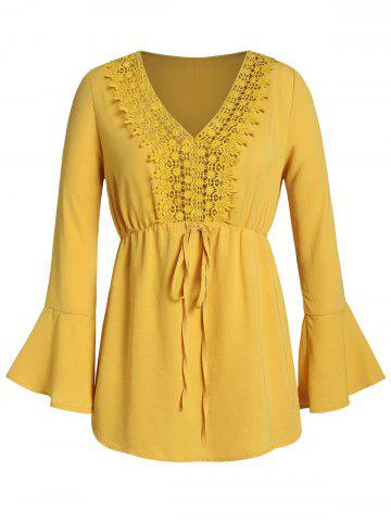 Plus Size Crochet Panel Flare Sleeve Tie Tunic Blouse