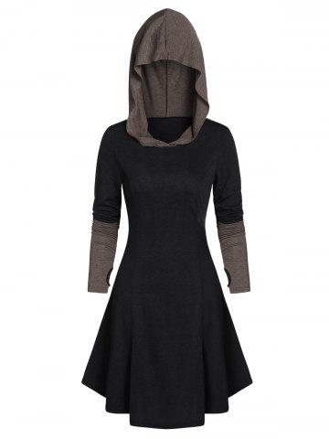 Hooded Glove Sleeve Lace-up Contrast Dress