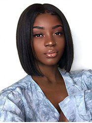 Center Part Straight Medium Human Hair Wig with Lace Front -