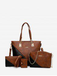 4PCS Color Block Tote Bag Set -