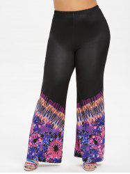 High Waisted Printed Boot Cut Plus Size Pants -