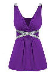 Plus Size Plunging Neck Sequined Tank Top -