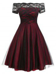 Plus Size Off Shoulder Lace Panel Tulle Cocktail Dress -
