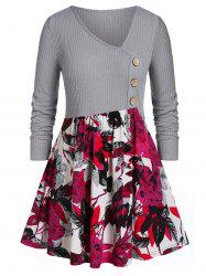 Plus Size Floral Print Button Skew Neck Sweater -