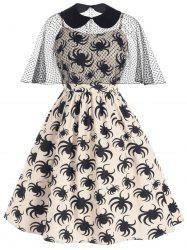 Halloween Spider Print Cami Dress and Collared Mesh Poncho -