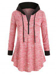 Plus Size Space Dye Half-zip Hooded Tunic Top -