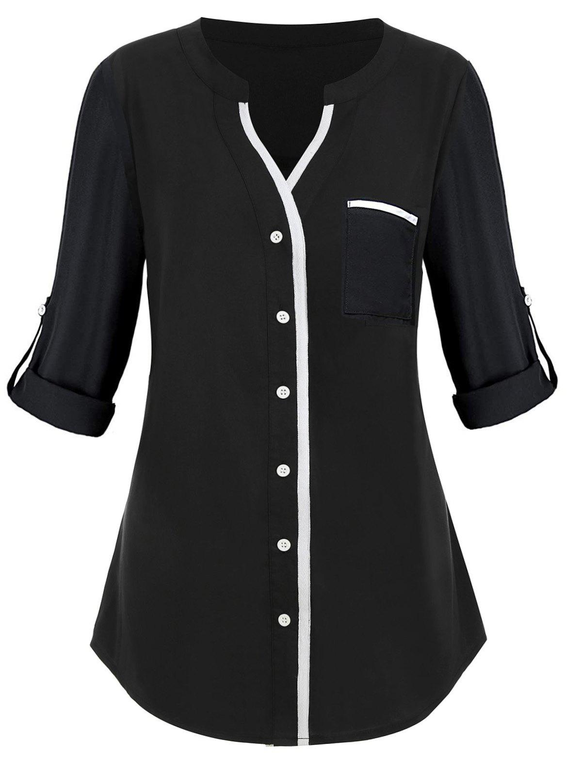 Chic Contrast Button Up Front Pocket Plus Size Shirt