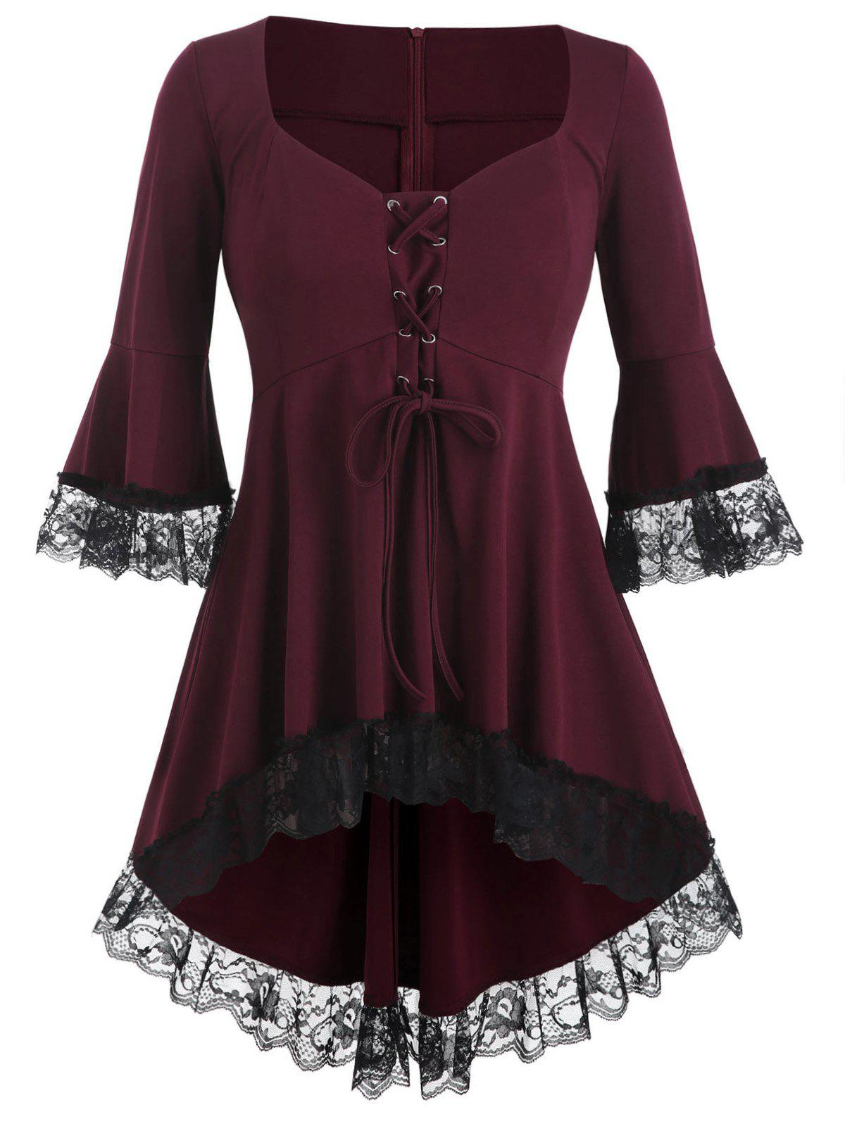 Outfit High Low Lace Panel Lace Up Plus Size Blouse