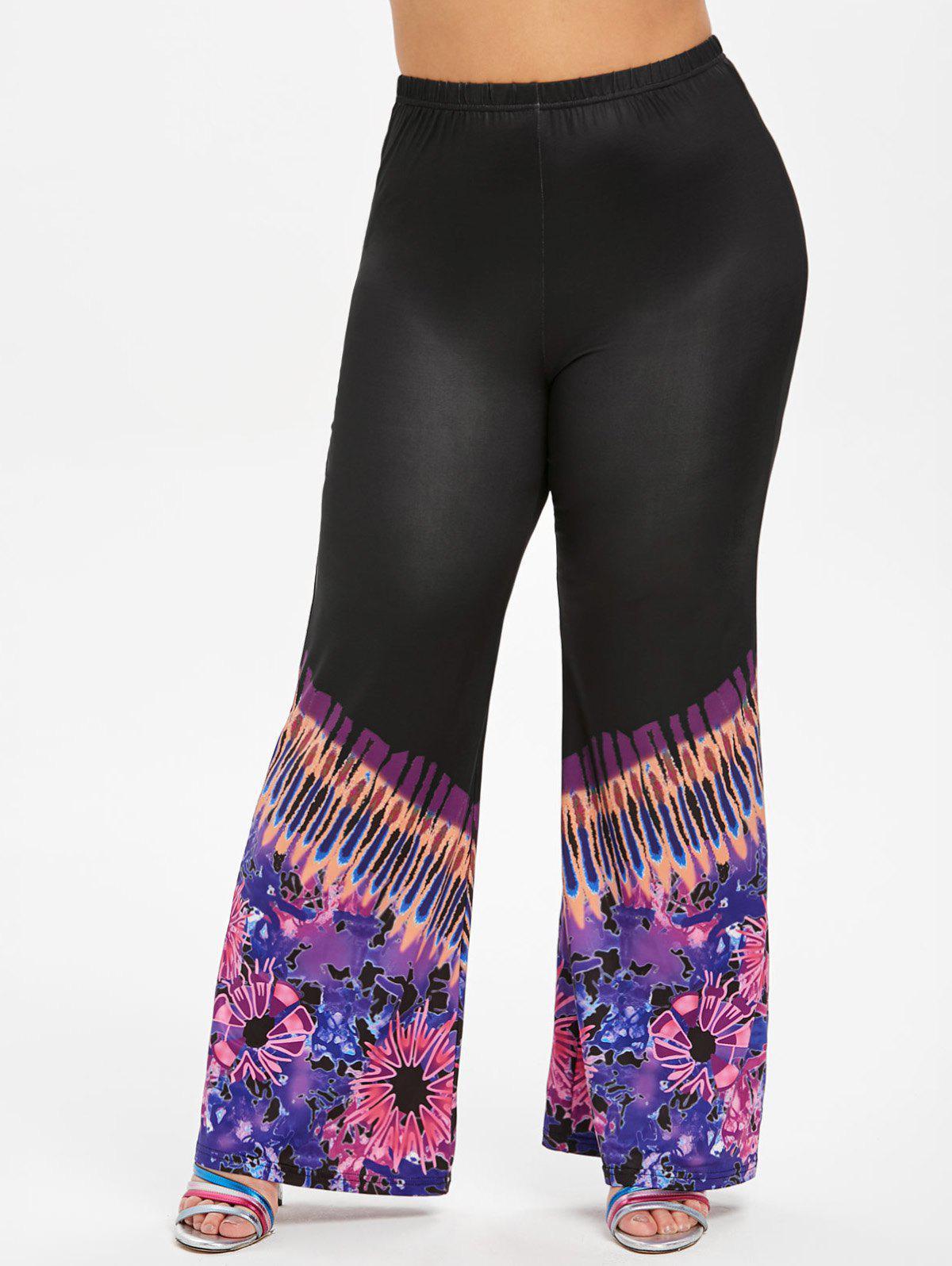 Fancy High Waisted Printed Boot Cut Plus Size Pants