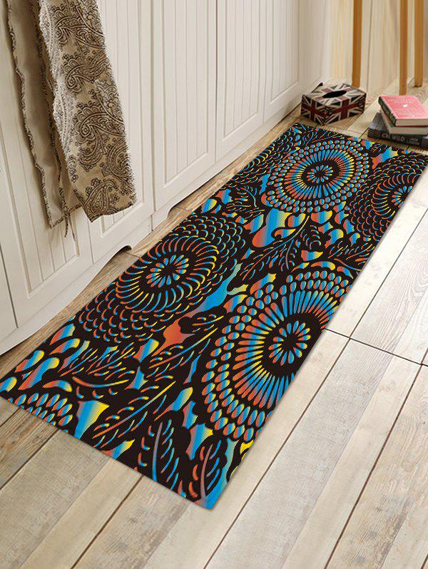 Sale Spiral Geometric Pattern Print Flannel Floor Mat