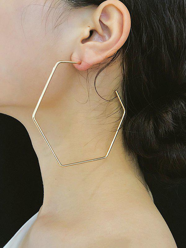 Fashion Exaggerated Hexagonal Hoop Earrings