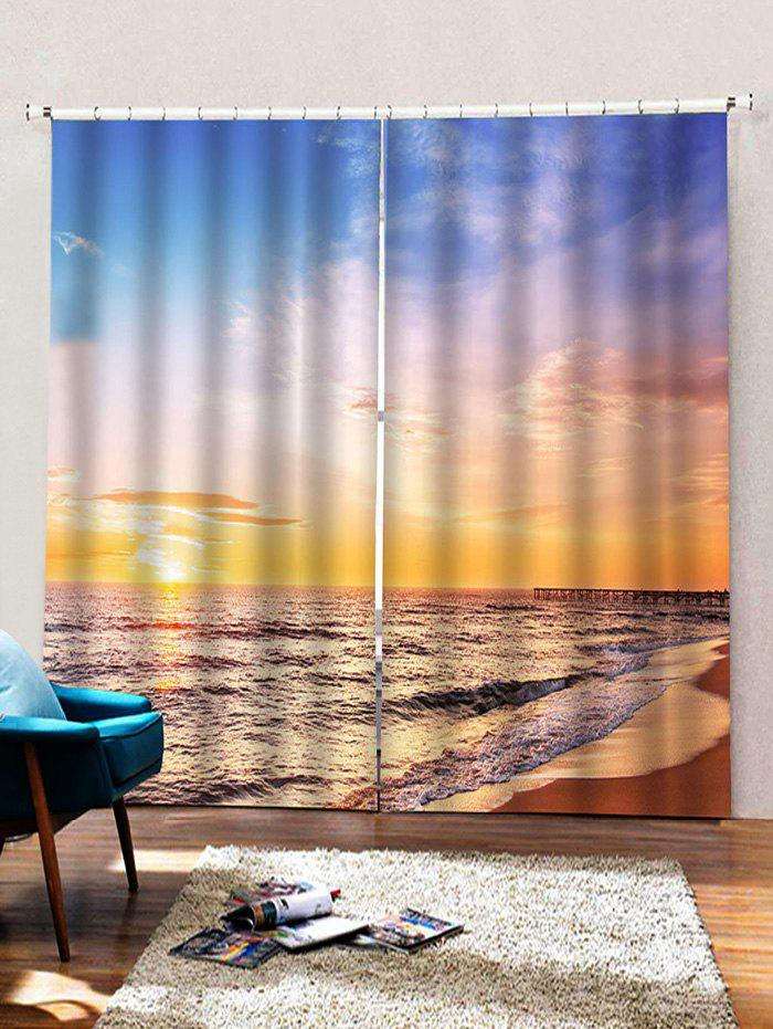 Outfit 2 Panels Beach Sunset Print Window Curtains