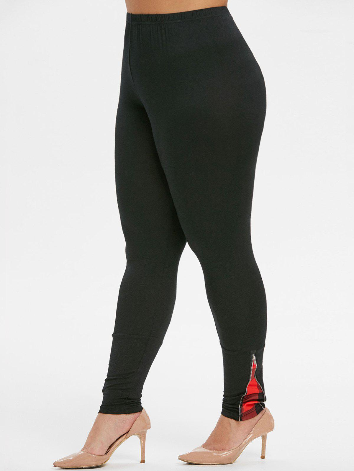 Affordable Plaid Panel Zippered High Waisted Plus Size Leggings