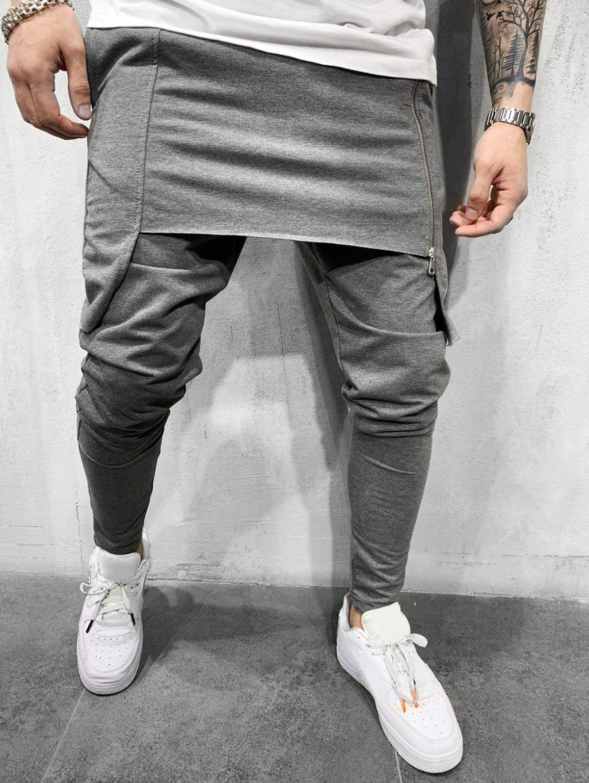 Shop Solid Color Zipper Decorated Jogger Pants