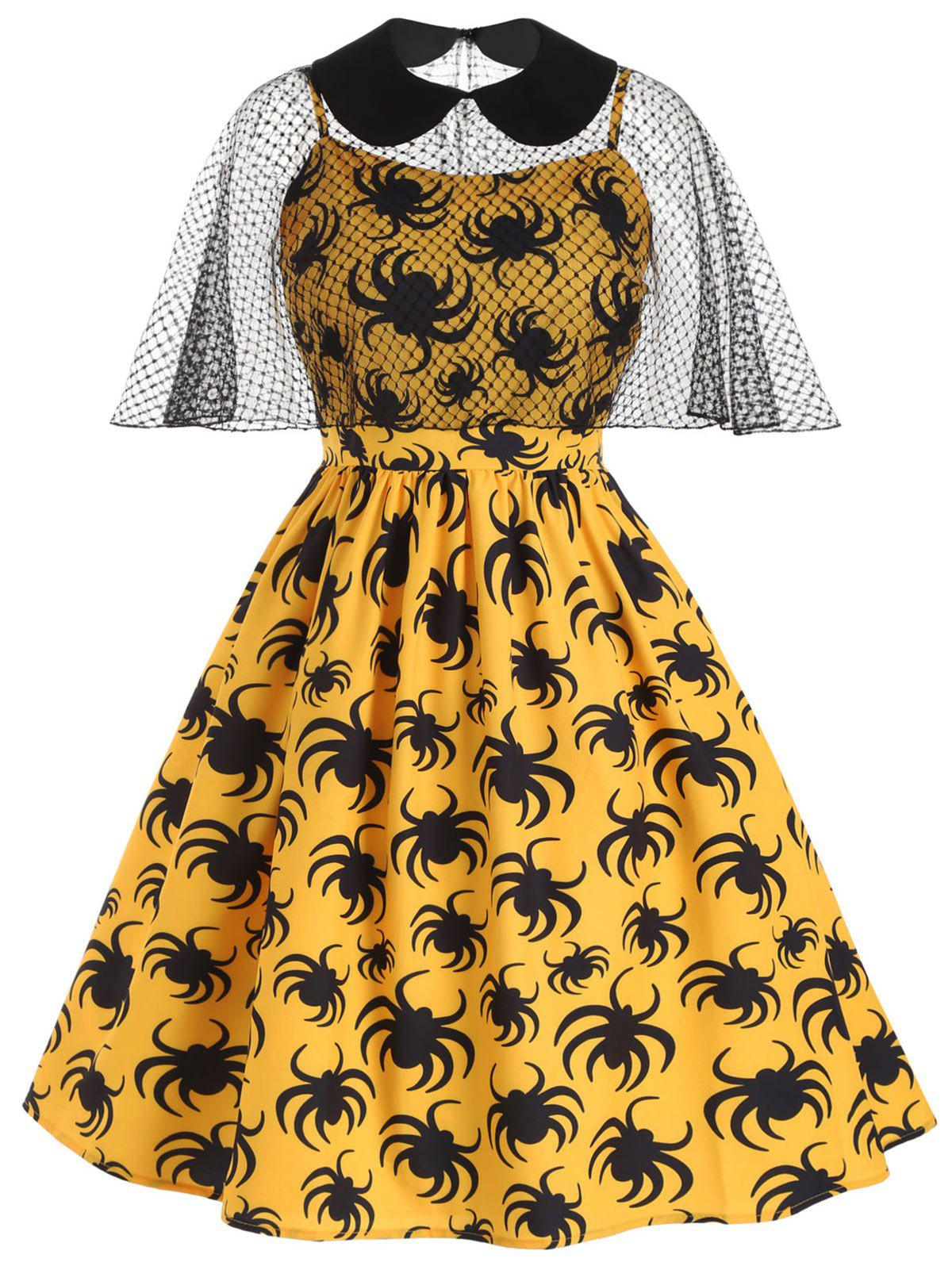 Shops Halloween Spider Print Cami Dress and Collared Mesh Poncho