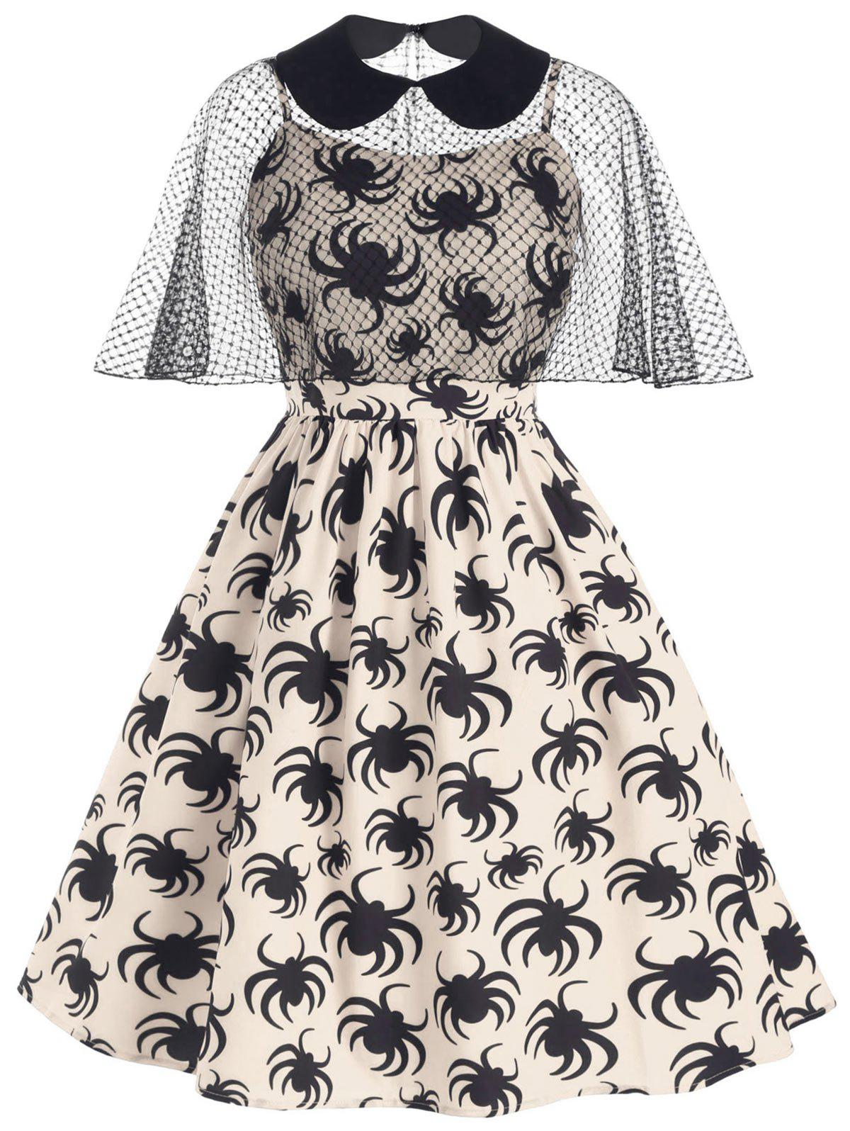 Affordable Halloween Spider Print Cami Dress and Collared Mesh Poncho