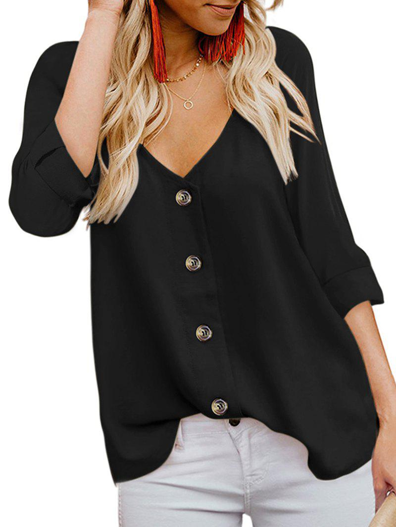 Online Low Cut Button Up Roll Up Sleeve Blouse