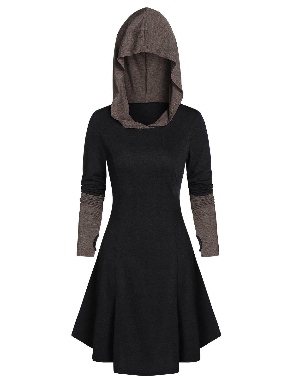 Discount Hooded Glove Sleeve Lace-up Contrast Dress