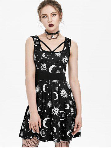 Sun and Moon Print Strappy Skater Dress