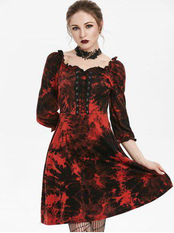 Tie Dye Lace Up Fit And Flare Gothic Dress