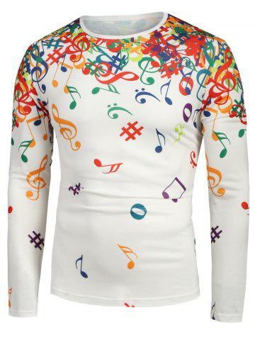 Musical Note Pattern Long Sleeves T-shirt
