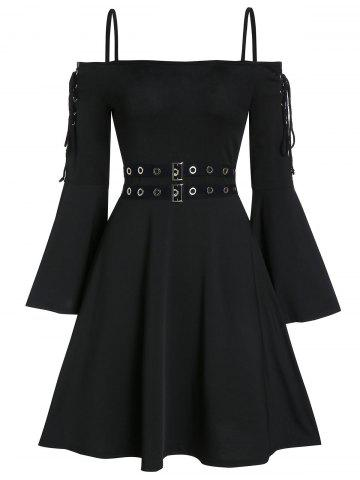 Lace Up Open Shoulder Spaghetti Strap Gothic Dress