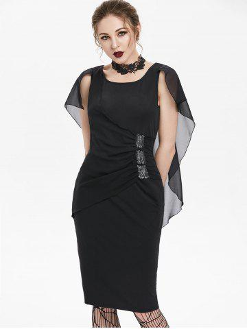 Sequined Ruched Chiffon Insert Cape Bodycon Gothic Dress