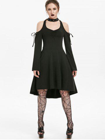 Cold Shoulder Lace-up Flare Sleeve Skater Gothic Dress