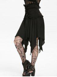 Halloween Lace Panel Asymmetric Handkerchief Gothic Skirt -