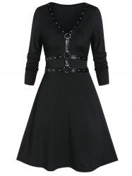 Fit And Flare Long Sleeve Plunge Gothic Dress -