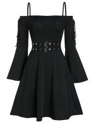 Lace Up Open Shoulder Spaghetti Strap Gothic Dress -