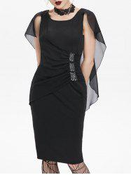 Sequined Ruched Chiffon Insert Cape Bodycon Gothic Dress -