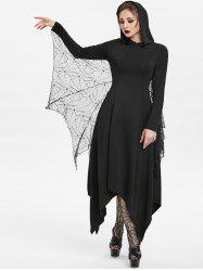 Halloween Handkerchief Hooded Gothic Dress With Bat Wings -