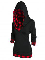Plaid Panel Hooded Tunic T Shirt -