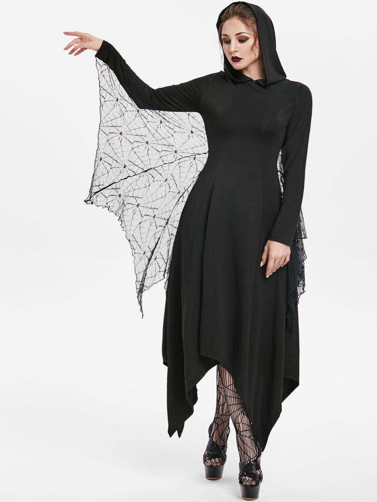 Sale Halloween Handkerchief Hooded Gothic Dress With Bat Wings