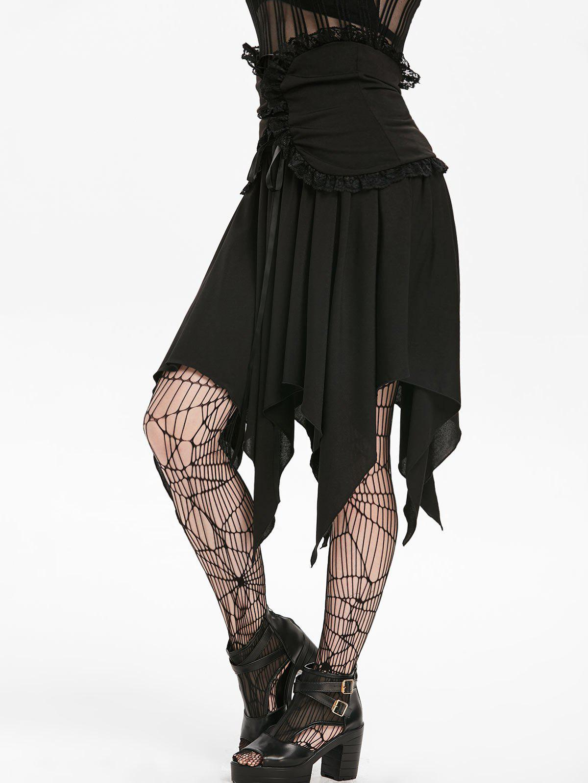 Outfits Halloween Lace Panel Asymmetric Handkerchief Gothic Skirt